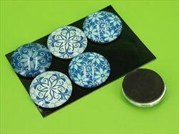 Magnetky polyresin prům.3cm/6ks modro/bílé - velkoobchod, dovoz květin, řezané květiny Brno