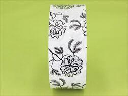Stuha 5/100 pohřební tisk květy bílá - velkoobchod, dovoz květin, řezané květiny Brno