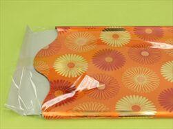 Rondo celofán pr.50cm tisk oranžová - velkoobchod, dovoz květin, řezané květiny Brno