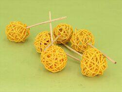 Koule ratan zápich 6ks/4cm žlutá - velkoobchod, dovoz květin, řezané květiny Brno