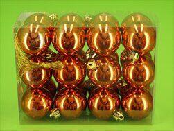 Koule vánoční plast 24ks/4cm oranž - velkoobchod, dovoz květin, řezané květiny Brno