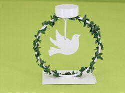 Svícen svatební 13x6x12,8cm bílá - velkoobchod, dovoz květin, řezané květiny Brno
