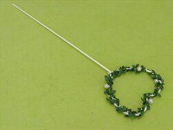 Srdce zápich kov 10,5x40cm bílá/zelená - velkoobchod, dovoz květin, řezané květiny Brno