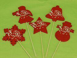 Zápich vánoční mix 5ks 8/12cm červená - velkoobchod, dovoz květin, řezané květiny Brno