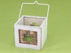 Svícen patina dřevo/sklo/kov 8,5cm bílá - velkoobchod, dovoz květin, řezané květiny Brno