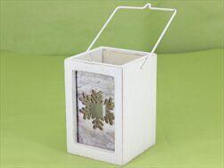 Svícen patina dřevo/sklo/kov 15cm bílá - velkoobchod, dovoz květin, řezané květiny Brno