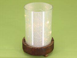 Svícen sklo/dřevo/LED světla pr.10,5V15cm - velkoobchod, dovoz květin, řezané květiny Brno