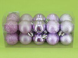 Koule vánoční pvc 20ks/3cm sv.fialová - velkoobchod, dovoz květin, řezané květiny Brno