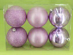 Koule vánoční pvc 6ks/10cm sv.fialová - velkoobchod, dovoz květin, řezané květiny Brno