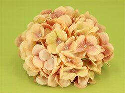 Hortenzie květ textil pr.18cm korálová - velkoobchod, dovoz květin, řezané květiny Brno