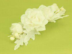 Květinová dekorace textil 22cm bílá - velkoobchod, dovoz květin, řezané květiny Brno