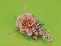 Květinová přízdoba textill 16cm růžová - velkoobchod, dovoz květin, řezané květiny Brno