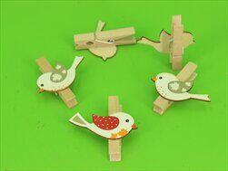 Ptáček kolíček dřevo 5ks/4,5cm mix - velkoobchod, dovoz květin, řezané květiny Brno