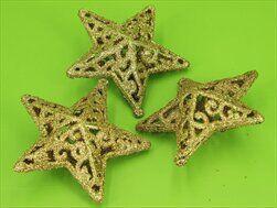 Hvězdy 3D závěs pvc 3ks/5,5cm zlatá - velkoobchod, dovoz květin, řezané květiny Brno