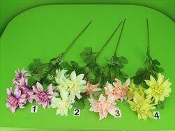 Jiřina umělá 4květy pr.11V60cm mix - velkoobchod, dovoz květin, řezané květiny Brno