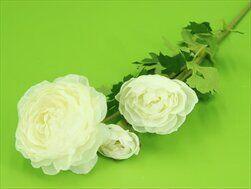 Ranunculus umělý x3/61cm krém - velkoobchod, dovoz květin, řezané květiny Brno