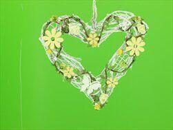 Srdce ratan/dřevo 26cm - velkoobchod, dovoz květin, řezané květiny Brno