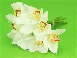 Cymbidium umělé 7ks/25cm bílá - velkoobchod, dovoz květin, řezané květiny Brno