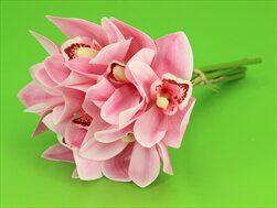 Cymbidium umělé 7ks/25cm růžová - velkoobchod, dovoz květin, řezané květiny Brno