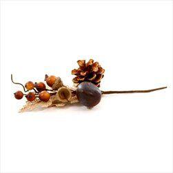 Větvička podzimní textil/pvc 17cm hnědá - velkoobchod, dovoz květin, řezané květiny Brno