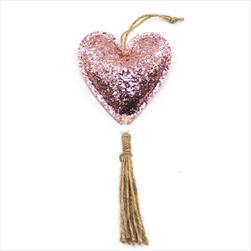 Srdce koženka závěs 23cm růžová - velkoobchod, dovoz květin, řezané květiny Brno