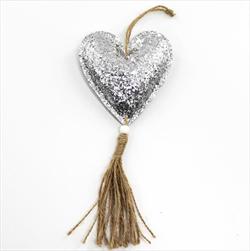 Srdce koženka závěs 23cm stříbrná - velkoobchod, dovoz květin, řezané květiny Brno