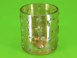 Svícen sklo pr.7,2 V8cm čirá zlatá - velkoobchod, dovoz květin, řezané květiny Brno