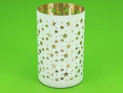 Svícen sklo LED světla pr.10cm V15,5cm bílá - velkoobchod, dovoz květin, řezané květiny Brno