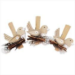 Ptáček kolíček dřevo 8ks/6cm natural - velkoobchod, dovoz květin, řezané květiny Brno