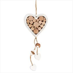 Srdce závěs dřevo 24,5cm natural - velkoobchod, dovoz květin, řezané květiny Brno