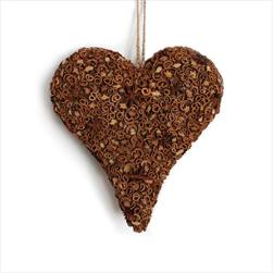 Srdce závěs skořice/badyán 19x20cm hnědá - velkoobchod, dovoz květin, řezané květiny Brno