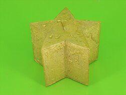 Svíčka jinovatka metal hvězda 90x60 zlatá - velkoobchod, dovoz květin, řezané květiny Brno