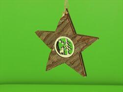 Dřevěná Hvězda na Pověšení Les Přírodní 15cm - velkoobchod, dovoz květin, řezané květiny Brno
