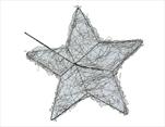 Drátěný Držák na Kytici Hvězda 20cm Stříbrné 6ks - velkoobchod, dovoz květin, řezané květiny Brno