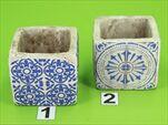 Obal cement modrý ornament 8,5x8,5x8cm - velkoobchod, dovoz květin, řezané květiny Brno