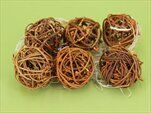 Koule ratan 6ks/4cm natural+oranž - velkoobchod, dovoz květin, řezané květiny Brno