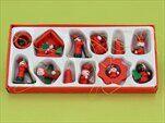 Vánoční dřevěné figurky kazeta 12ks/3cm - velkoobchod, dovoz květin, řezané květiny Brno