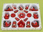 Vánoční dřevěné figurky kazeta 19ks/4cm červená - velkoobchod, dovoz květin, řezané květiny Brno