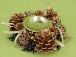 Svícen vánoční šišky 12cm zlatá - velkoobchod, dovoz květin, řezané květiny Brno