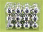 Koule vánoční plast 24ks/4cm stříbrná - velkoobchod, dovoz květin, řezané květiny Brno