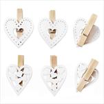 Srdce kolíček dřevo 6ks/2cm bílá - velkoobchod, dovoz květin, řezané květiny Brno