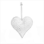 Srdce závěs kov 10cm bílá - velkoobchod, dovoz květin, řezané květiny Brno
