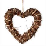 Srdce proutí závěs 33cm natural - velkoobchod, dovoz květin, řezané květiny Brno