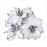 Poensetie zápich textil 3ks/6cm bílá - velkoobchod, dovoz květin, řezané květiny Brno