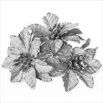 Poensetie zápich textil 3ks/6cm stříbrnošedá - velkoobchod, dovoz květin, řezané květiny Brno