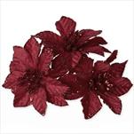Poensetie zápich textil 3ks/6cm bordó - velkoobchod, dovoz květin, řezané květiny Brno