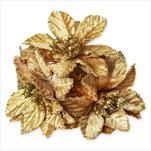 Poensetie zápich textil 3ks/6cm zlatá - velkoobchod, dovoz květin, řezané květiny Brno