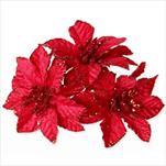 Poensetie zápich textil 3ks/6cm červená - velkoobchod, dovoz květin, řezané květiny Brno