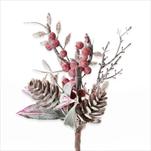 Zápich vánoční umělý 17cm - velkoobchod, dovoz květin, řezané květiny Brno