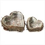 Srdce obal proutí 2ks/20/17cm natural - velkoobchod, dovoz květin, řezané květiny Brno